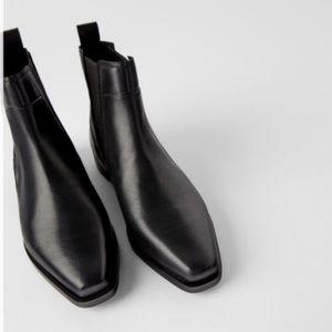 Zara Leather Flat Ankle Boot Black Square Toe